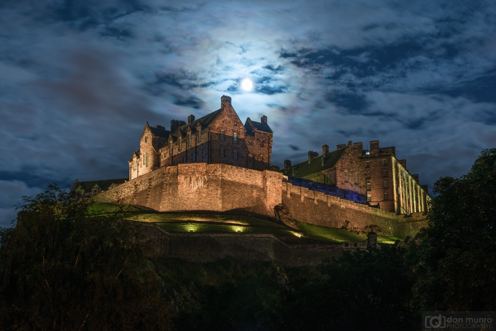 Moon over Edinburgh Castle.