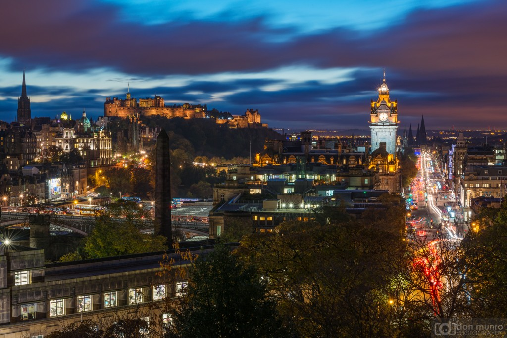 Edinburgh cityscape view, Calton Hill.