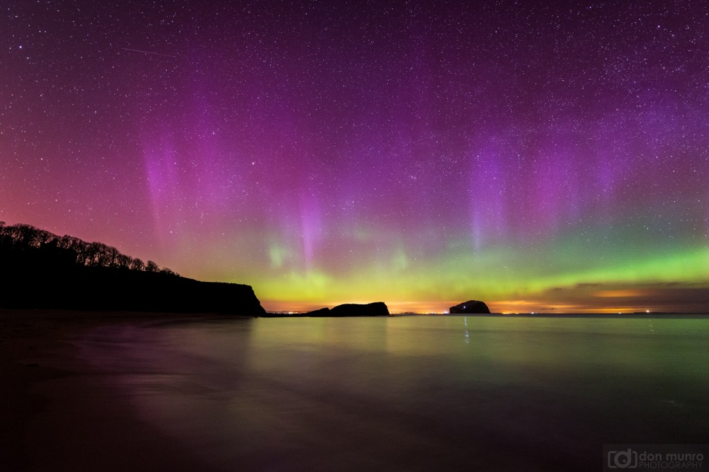 Aurora over the Bass Rock.