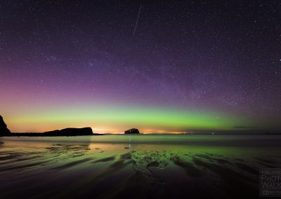 Aurora and shooting star