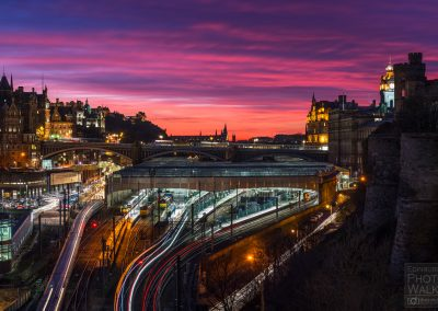 Late sunset over Edinburgh Waverley Railway Station