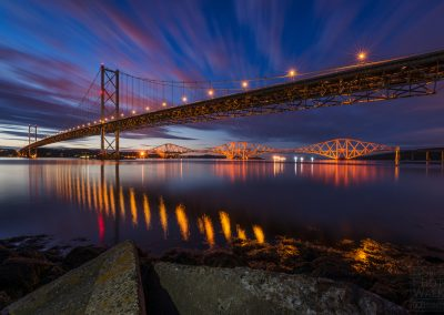 Mid-summer twilight at Forth Bridges