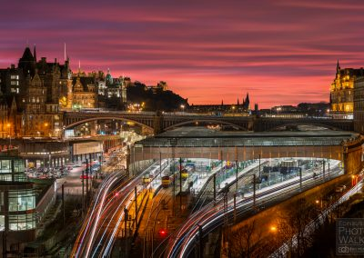 Sunset over Edinburgh Waverley Railway Station